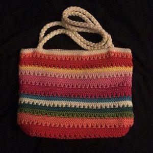 Rainbow knit purse